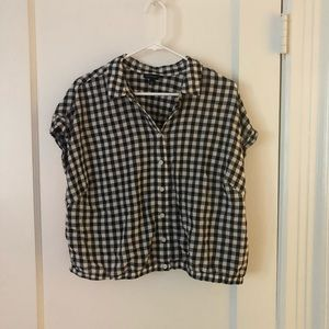 Cropped Gingham Button Up | Black + White